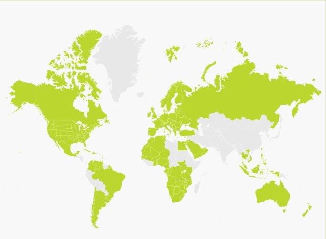 Illustration af et verdenskort til Victor Reader Trek.