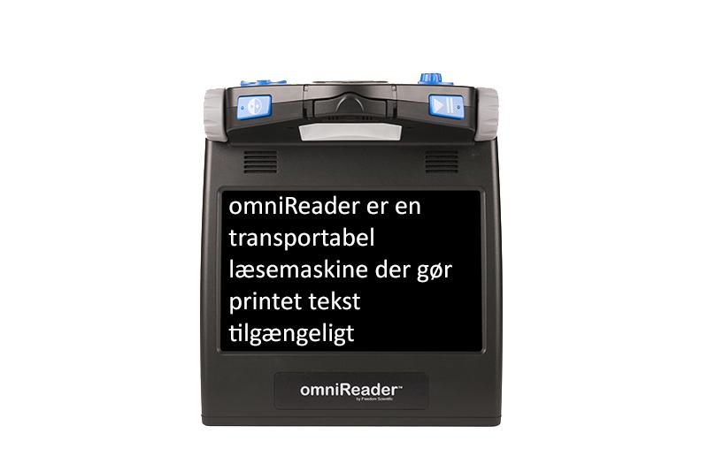 omniReader med tekst i skærmen DK