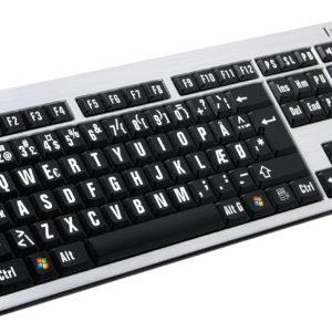 LogicKeyboard Sølv Hvid på Sort