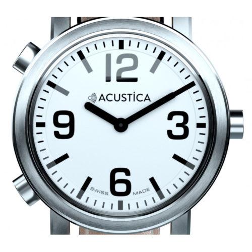 Billede af ACUSTICA med Metalrem og hvid urskive og sorte tal