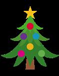 Billede af et juletræ med julelys og stjerne.