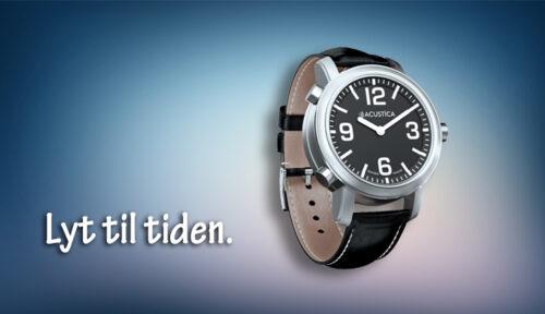 ACUSTICA ur med sort skive og sort læderrem